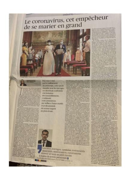 Article du Figaro sur les mariages face au coronavirus Noce de Rêve by Flovinno