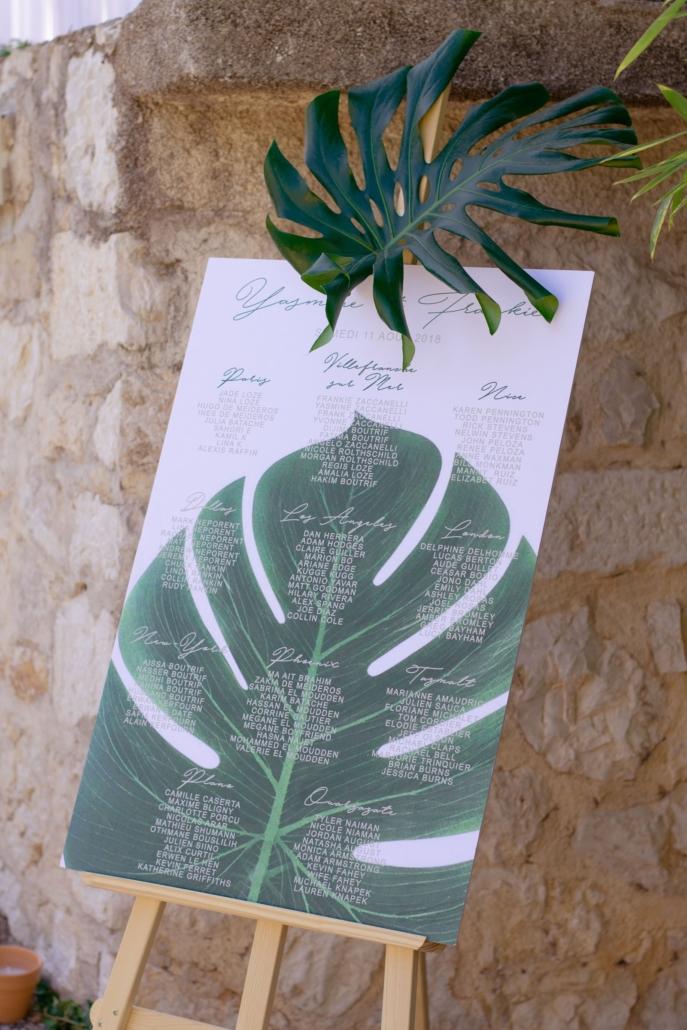plan de table tropical Noce de Rêve by FLOVINNO